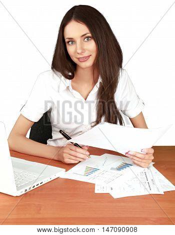 Female Secretary Writing and Analyze Statistics - Isolted