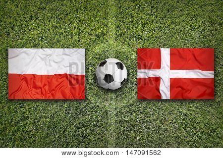 Poland and Denmark flags on a green soccer field, 3D illustration
