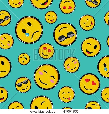 Cute Emoji Designs Seamless Pattern