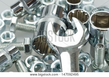 Wrench Sockets, Wrench, Bolt Screws And Nuts Close-up