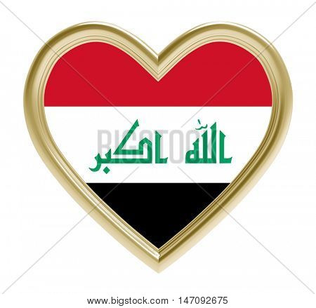Iraqi flag in golden heart isolated on white background. 3D illustration.