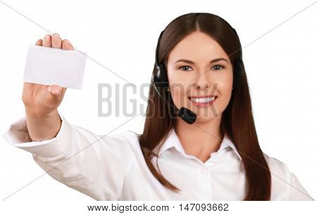 Woman Call Center Employee Talking on Headset and Presenting Placeholder - Isolated