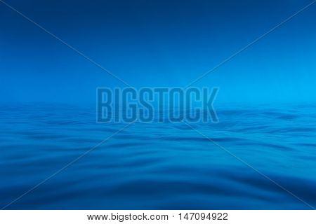 Underwater sea photo. Soft blue background image.