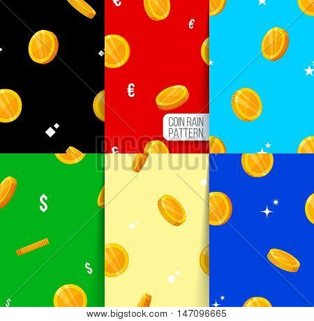 Six seamless pattern. golden coins falling. coins rain pattern. Vector illustration