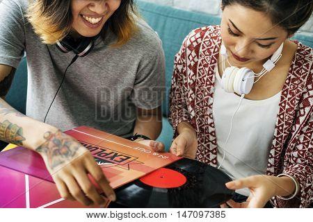 Audio Equipment Disc Record Soundtrack Teens Concept