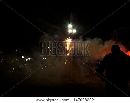 A Judas effigy is burning on Easter's Eve in Arta, Greece.