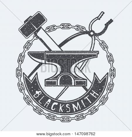 Blacksmith tools black and white vector illustration