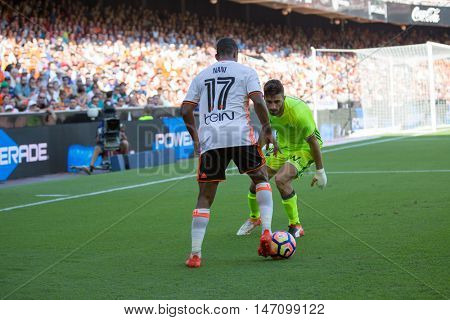 VALENCIA, SPAIN - SEPTEMBER 11th: Nani with ball during Spanish League match between Valencia CF and Real Betis at Mestalla Stadium on September 11, 2016 in Valencia, Spain