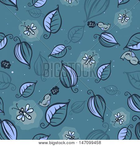 Fireflies night pattern seamless vector illustration eps