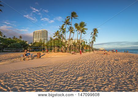 Waikiki, Oahu, HI - August 18, 2016: Fort DeRussy Beach is part of eight sections that make up the popular and long Waikiki Beach in Honolulu.This area of Waikiki is family friendly and more peaceful.