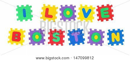 Message I Love Boston from letters puzzle isolated on white background.