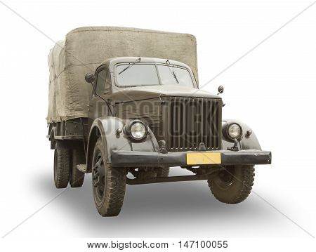 1930s military truck isolated on white background
