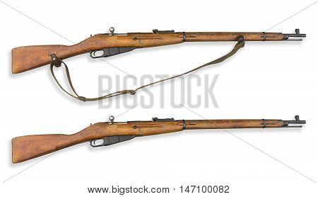 The old rifle isolated on a white background. Rifle during the war in 1940s.