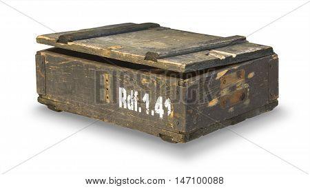 box of ammunition isolated on white background