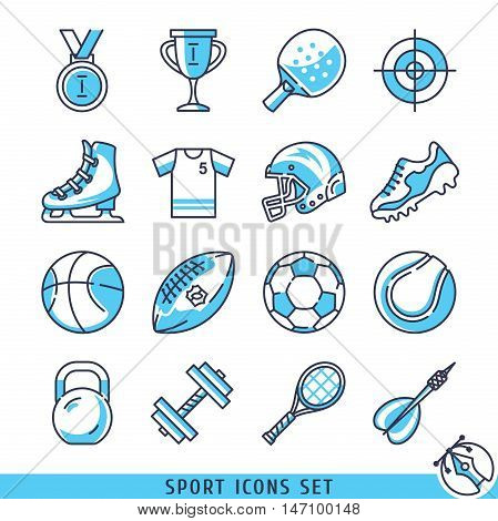 Sport icons set lines vector illustration eps