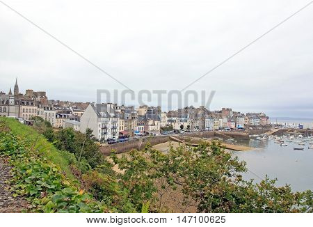 The port of Douarnenez seen since the trail Plomarc'h by a bad weather day (Brittany Finistère France)