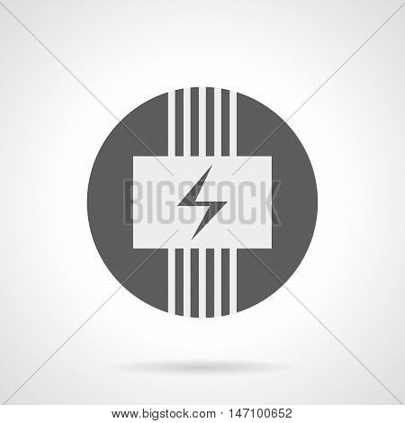 Abstract white silhouette sign of electric wiring system. Panel with power symbol and wires. Electrical under floor heating. Gray round flat style vector icon.