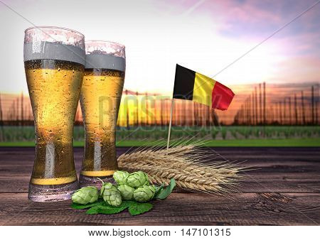 concept of beer consumption in Belgium - 3D render