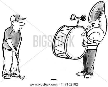 B&W cartoon showing golfer about to putt and being distracted by a one man band.