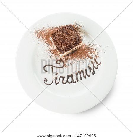 tiramisu on white plate isolated on the white background.