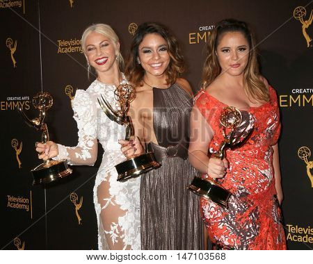 LOS ANGELES - SEP 11:  Julianne Hough, Vanessa Hudgens, Kether Donohue at the 2016 Primetime Creative Emmy Awards - Day 2 - Arrivals at the Microsoft Theater on September 11, 2016 in Los Angeles, CA