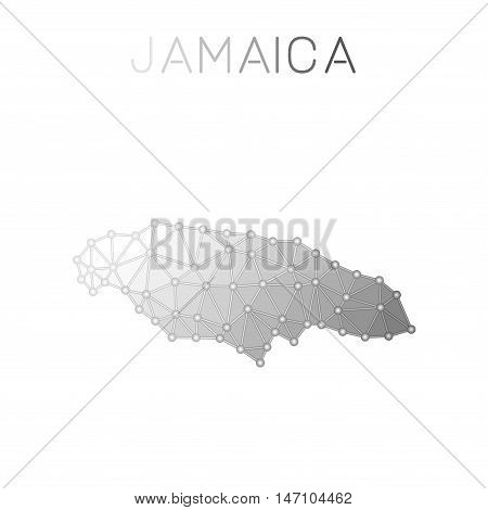 Jamaica Polygonal Vector Map. Molecular Structure Country Map Design. Network Connections Polygonal
