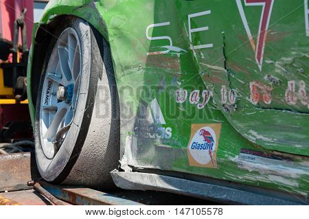 Vallelunga, Rome, Italy. September 10Th 2016. Porsche Carrera Racing Crashed