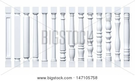 Collection of white isolated columns, pilasters, balusters. 3D rendering