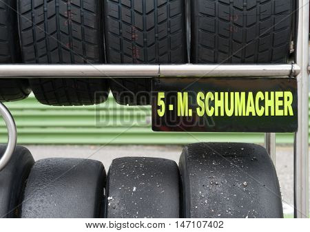 Vallelunga, Rome, Italy. September 10Th 2016. Formula 4 Championship, Mick Schumacher Tire Sets