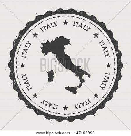 Italy Hipster Round Rubber Stamp With Country Map. Vintage Passport Stamp With Circular Text And Sta