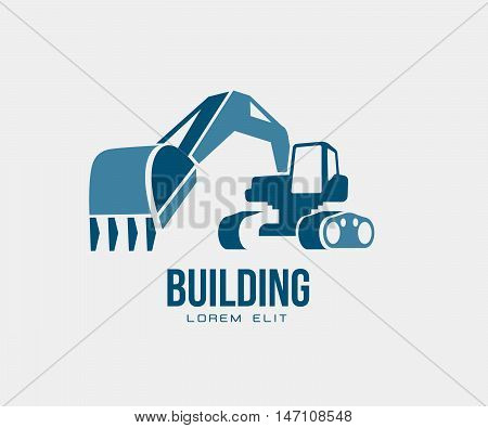 excavator abstract design vector emblem, logo illustration isolated