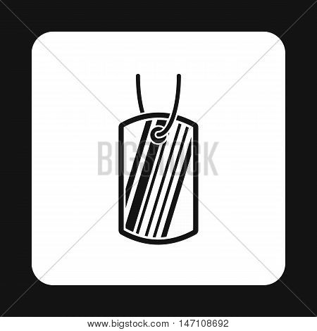 Identification army badge icon in simple style on a white background vector illustration