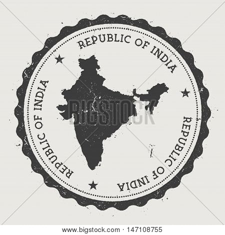 India Hipster Round Rubber Stamp With Country Map. Vintage Passport Stamp With Circular Text And Sta