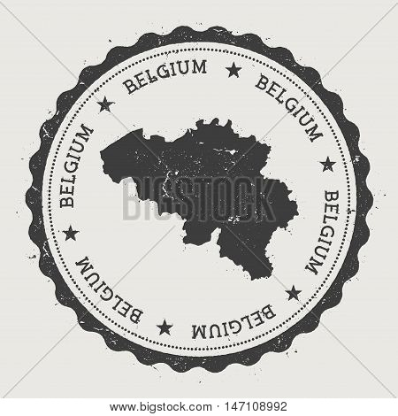 Belgium Hipster Round Rubber Stamp With Country Map. Vintage Passport Stamp With Circular Text And S