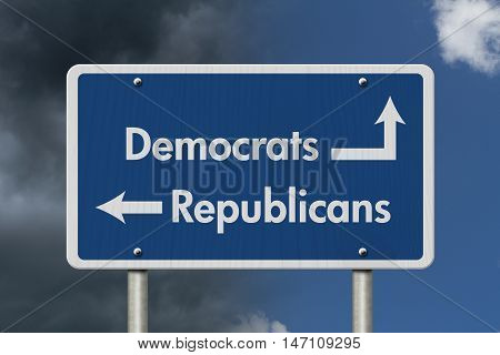 Difference between Democrats and Republicans Blue Road Sign with text Democrats and Republicans with bright and stormy sky background, 3D Illustration
