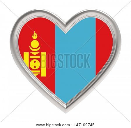 Mongolian flag in silver heart isolated on white background. 3D illustration.