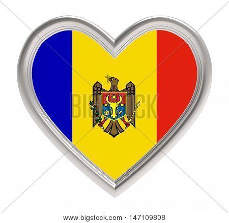 Moldavian flag in silver heart isolated on white background. 3D illustration.