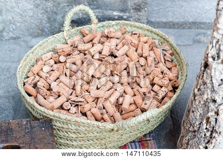 various corks in the foreground on tray