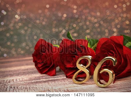 birthday concept with red roses on wooden desk. 3D render - eightysixth birthday. 86th