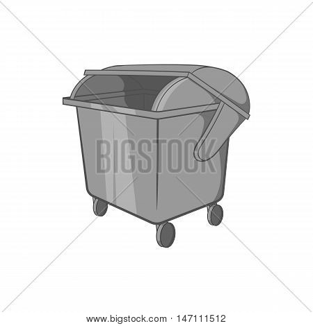 Dumpster icon in black monochrome style isolated on white background. Garbage symbol vector illustration