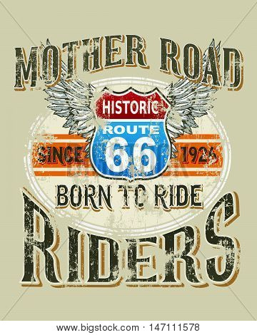 mother road riders vector illustration for T-shirt printed and poster