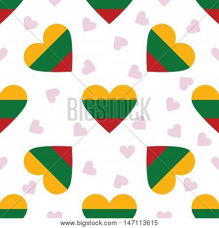 Lithuania Independence Day Seamless Pattern. Patriotic Background With Country National Flag In The
