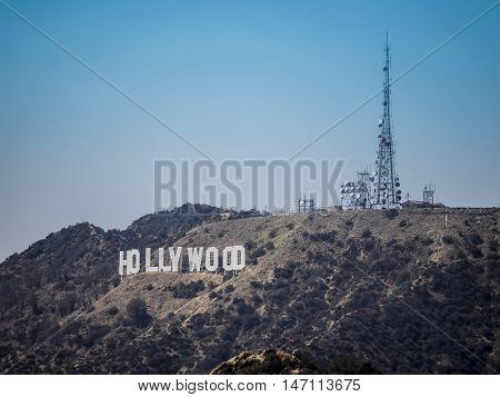 Hollywood sign, at LA, California on September 01, 2016