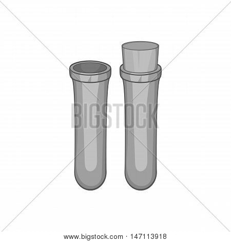 Vial for blood collection icon in black monochrome style isolated on white background. Laboratory symbol vector illustration