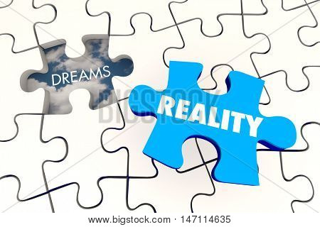 Dreams Become Reality Puzzle Piece Final 3d Illustration