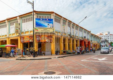 PENANG MALAYSIA - APRIL 15 : Old building Sino Portuguese style in Penang on March 15 2016 in Penang Malaysia. Old building is a very famous tourist destination of Penang.