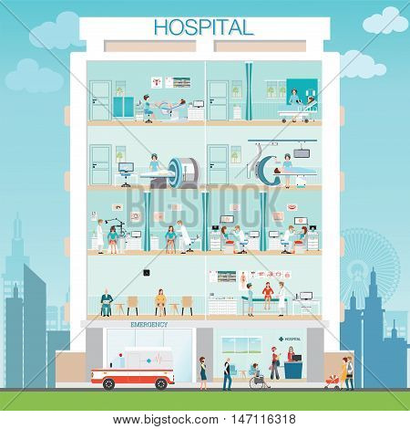 Hospital building exterior with doctor and patient medical check up gynecological room MRI scanner C Arm X-Ray Machine ScannerEar nose and throat clinic post-operation ward with ambulance health care vector illustration.