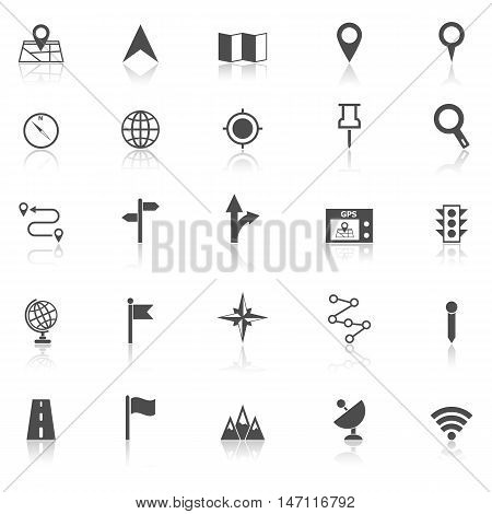 Navigation icons with reflect on white background, stock vector