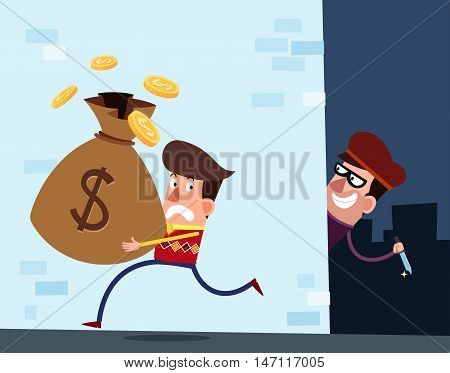 young rich man with a moneybags walking in a alleyway being targeted by a robber