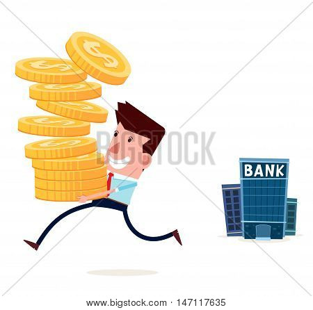 young businessman withdraw his saving from bank
